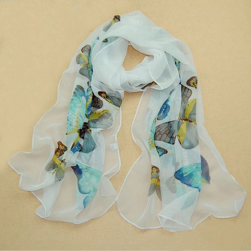 Women Lady Chiffon Butterfly Print Neck Shawl Scarf Scarves Wrap Stole Warm Sale