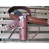 Brown Leather Gun Belt and Right Handed Smooth Holster Combination