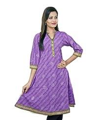 Jaipur Kurti Purple Women 3/4 Sleeves Cotton Printed Kurti - B00JZMVEMM