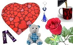 meSleep Digitally Printed Valentine 7 Piece Gift Set - Red (110-mug-Vcombo)