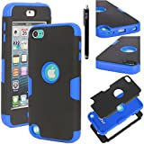 Ipod Touch 5 Case, E LV ipod Touch 5 Case - SHOCK ABSORPTION / HIGH IMPACT RESISTANT Full Body Hybrid Armor Protection Defender Case Cover for Apple ipod Touch 5 iTouch 5 with 1 Stylus and 1 Screen Protector (BLACK, DARK BLUE)