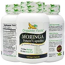 buy Organic Moringa Powder Potent Capsules (120 Veg). 100% Pure And Natural Raw Herbal Dietary Super Food Supplement. Non Gmo, Gluten Free. Us Fda Registered Facility. Kosher Certified Vegetarian Capsule. All Natural!