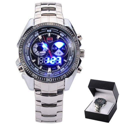 Tvg Stainless Steel Black Men'S Clock Fashion Blue Binary Led Pointer Mens Waterproof Watches