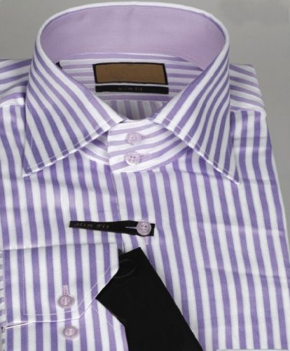 Jermyn street shirts Mens Lilac Stripe Slim Fit formal Paisley Shirt - XXXX-Large
