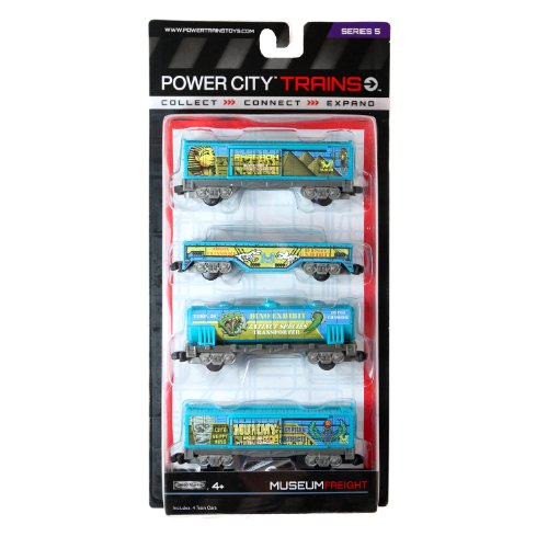"Jakks Pacific Year 2013 Power City Trains Series 4 Pack Train Accessory Set - MUSEUM FREIGHT with 2 Caboose, Freight Transport Car and ""Extinct Species Transporter"" Tanker"