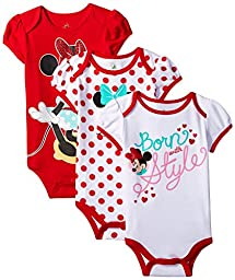 Disney Baby-Girls Minnie Mouse Bodysuit, White, 12 Months (Pack of 3)