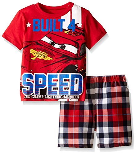 Disney Toddler Boys Cars Plaid Short Set with Tee, Red, 2T