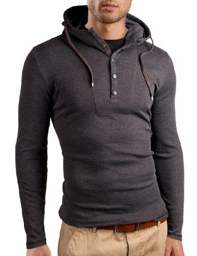 Grin&Bear Slim Fit Hoodie Buttoned Sweatshirt, Long Sleeve, Charcoal, Xl, Gb120