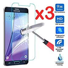 buy Nancy'S Shop For Samsung Galaxy Note 5 Ultra Thin Premium Tempered Glass Screen ProtectorFull HdFilmAnti-Scratch Anti-Fingerprint Bubble Drops Free Crystal Clear 0.3Mm9H Hardness 99% Hardness (X3)