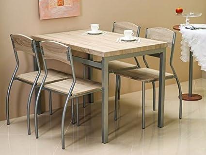 """Essgruppe """"Astro"""" Tisch+4 Stuhle Sonoma Eiche"""
