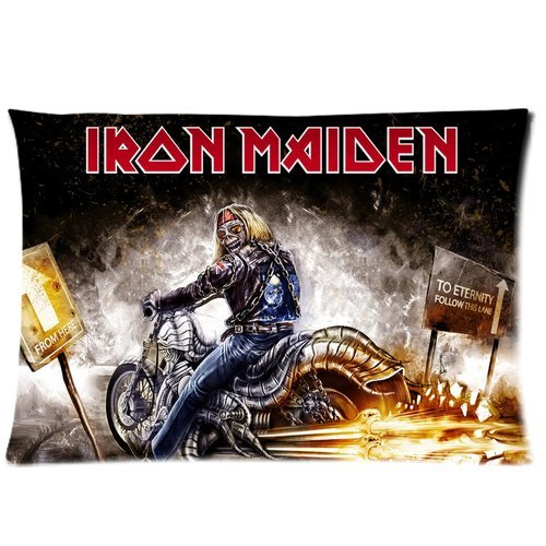 Custom Cotton & Polyester Soft Rectangle Zippered Pillow Case Cover 20X30 (Twin Sides) - Music Star Band Series - British Metal Band Iron Maiden - Album Cover Poster Creepy Skull Men Motorcycle Pattern Personalized Pillowcase - Forever Collection Souvenir