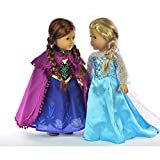 Ebuddy ® Disney Frozen Elsa and Anna Sparkle Princess Dress for 18 American Girl Doll Clothes
