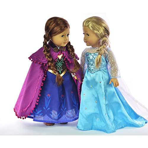 Ebuddy ® Elsa and Anna Sparkle Princess Dress for 18 inch doll clothes fits American Girl