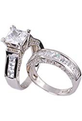 4.35ct Engagement Wedding Ring Set .925 Sterling Silver Size 5-10