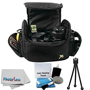 Deluxe Soft Padded Medium Bag For Digital SLR Camera Lens & Video accessories Case for Canon EOS Rebel SL1 T2i T3 T3i T4i T5i 70D 60D 50D 7D 6D 5D MARK III (BLACK) + CAMERA LENS CLEANING KIT
