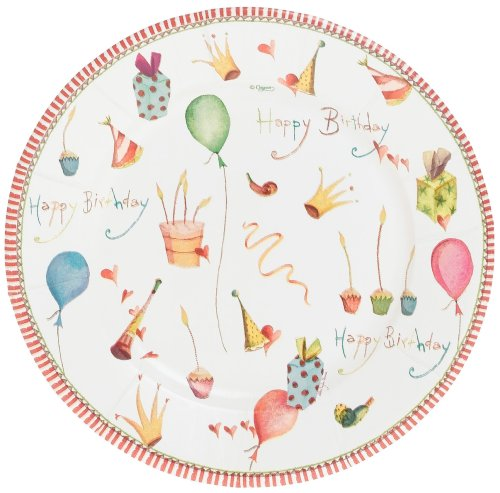 Buy Caspari Happy Birthday Set of 8 Paper Salad Plates
