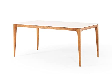 Table de Repas Design Scandinave blanche et bois Dewarens Maggia