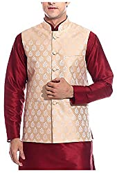 THREADS Men's Silk Ethnic Jacket (JJ145, Gold, 44)