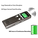 Aurosports 8GB Digital Voice Recorder & MP3 Music Player - 280 Hours Recording Capacity, Rechargeable, Built-in Speaker and LCD Display