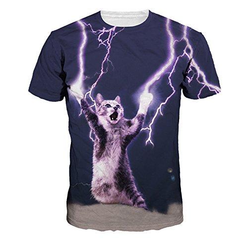 Wiboyjp メンズtシャツ 猫 ネコ 3d ヒップホップ サンダー 稲光 雷 スウェット t shirt 3dtシャツ 半袖tシャツ サマー メンズ 3D 春 夏 猫柄 プリント ファッション ストリート おもしろ おしゃれ