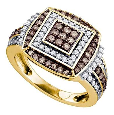 Women's White and Brown Diamond 1.00CTW 10K Yellow Gold Fashion Ring GND72881