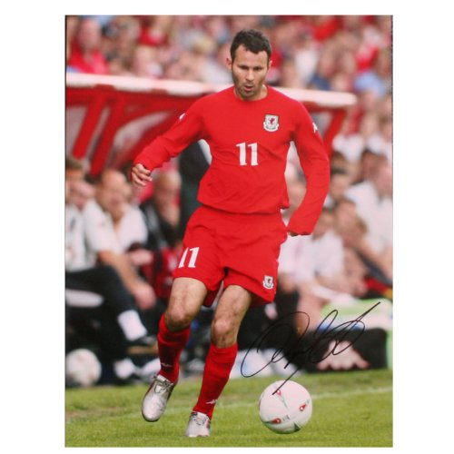 Ryan Giggs Signed Photo: In Action for Wales