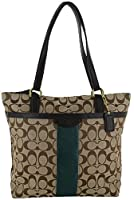 Coach F28504 Signature 12CM Stripe Shoulder Tote Purse by Coach