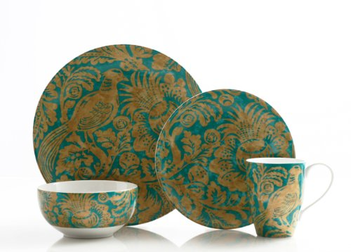 222 Fifth Belorado 16-Piece Dinnerware Set, Teal front-1048805