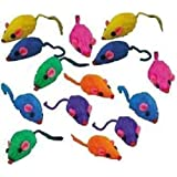 10 Rainbow Mice Cat Toys with Real Rabbit Fur That Rattle