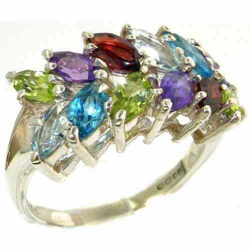 Outstanding Solid Sterling Silver Natural Vibrant Multi Gemstone Large Womens Ring - Finger Sizes L to Z Available