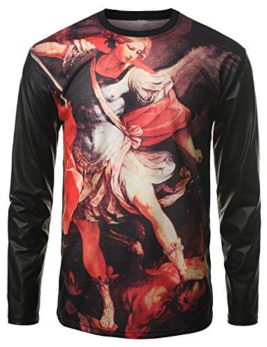 Urbancrews Mens Hipster Hip Hop Sublimated Pu Long Sleeve Shirt Black Xlarge