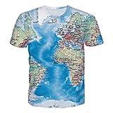 GuPoBoU168 Unisex Atlantic Ocean Europe World Map Print Tees XXL