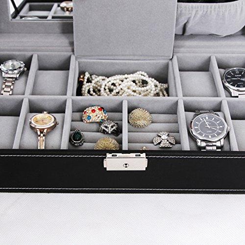 SONGMICS Black Leather Jewelry Box 8 Watch Organizer Storage Case with Lock & Mirror UJWB41B