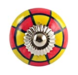 Set of 2 Red and Yellow hand painted ceramic pumpkin knobs cabinet drawer handles pulls
