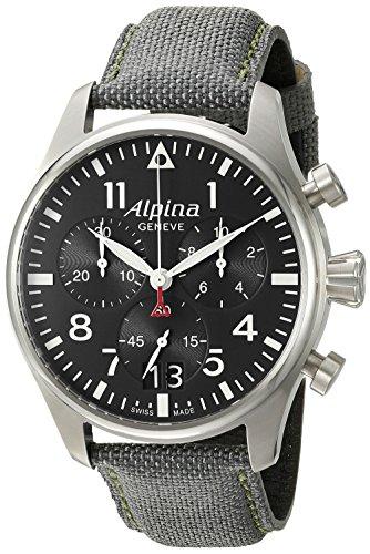 Alpina-Mens-AL-372B4S6-Startimer-Pilot-Chronograph-Big-Date-Analog-Display-Swiss-Quartz-Black-Watch