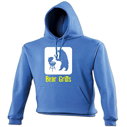 Fonfella Slogans Men's Bear Grills - Hoodie Small Royal Blue