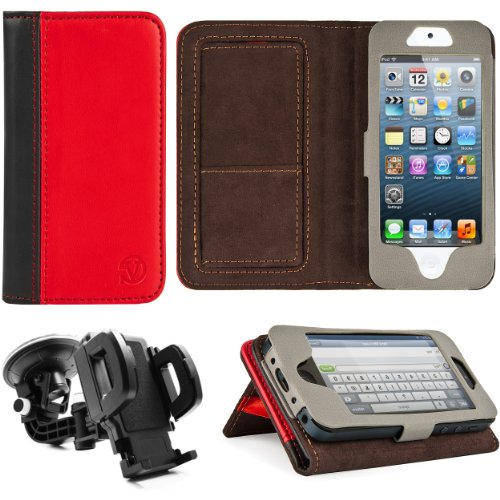 Best Price Red-Black VG Faux Leather Standalone Case for Apple iPhone 5 & Apple iPod Touch 5 (Compatible with All Models) + Mirror Screen Protector+ Universal Windshield Vehicle Mount