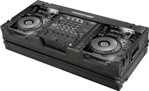 Marathon Ma-Cdj9H12Wblk Black Series Coffin Holds 2 X Large Format Cd Players + 12-Inch Mixer With Low Profile Wheels