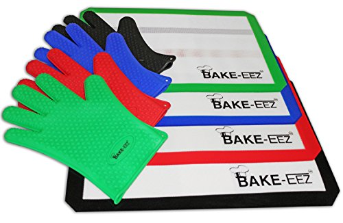 Silicone Baking Mat with Oven Mitt Set - Non Stick and Heat Resistant - Our Square Half Sheet 16 5/8 X 11