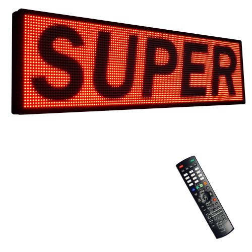 "Led Super Store Signs 1 Color (Red) 15"" X 115"" - Programmable Scrolling Display, Storefront Message Board - Industrial Grade Business Tools, Emc"