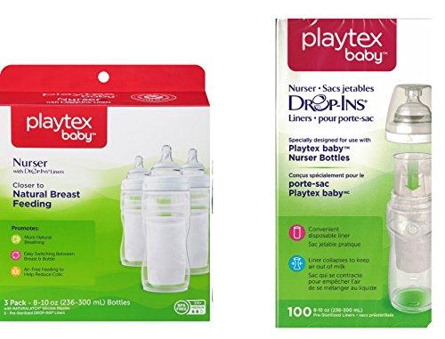 Playtex BPA Free Premium 8 Ounce Nurser Bottles 3 Count with 105 Drop In Liners - 1