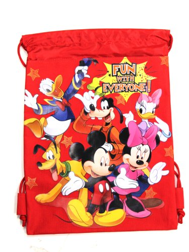 Red Mickey Mouse Drawstring Backpack - Mickey Mouse Drawstring Bag - 1