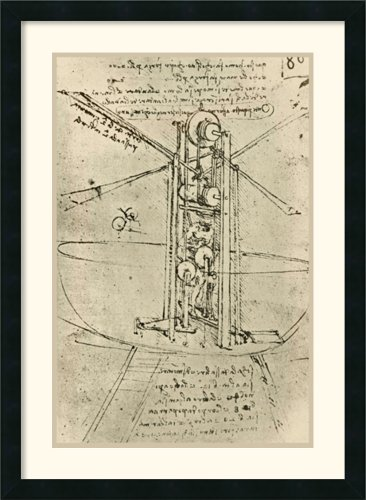 Drawing Of A Flying Machine With A Man Operating It By Leonardo Da Vinci Framed front-951194