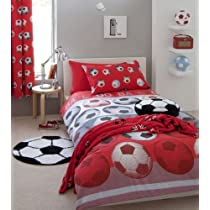 SOCCER RED WHITE FULL BED QUILT COVER DUVET SET