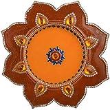 Maheshvari Wooden Rangoli (26 Cm X 26 Cm X 2 Cm, Orange)