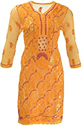AKS Lucknow Women's Regular Fit Kurti (TK-59_40, YELLOW, 40)
