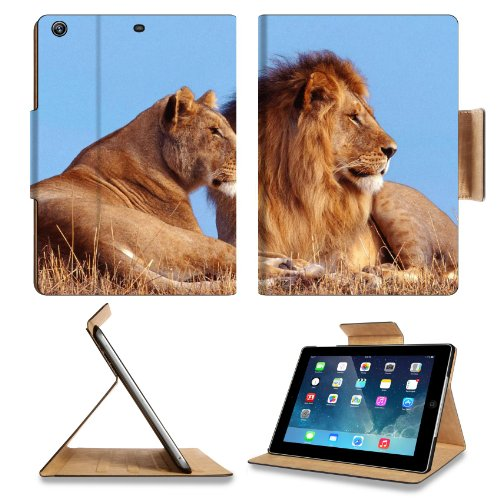 Animal Wildlife Lion King Mane Pride Africa Predator Cat Apple Ipad Air Retina Display 5Th Flip Case Stand Smart Magnetic Cover Open Ports Customized Made To Order Support Ready Premium Deluxe Pu Leather 9 7/16 Inch (240Mm) X 7 5/16 Inch (185Mm) X 5/8 Inc front-473803