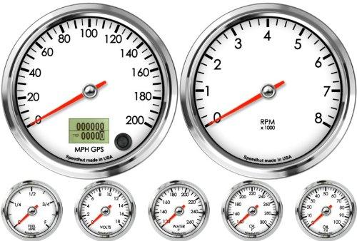 Speedhut 7 Gauge Custom Set - Gps Speedometer 200Mph, Tachometer 8K Rpm