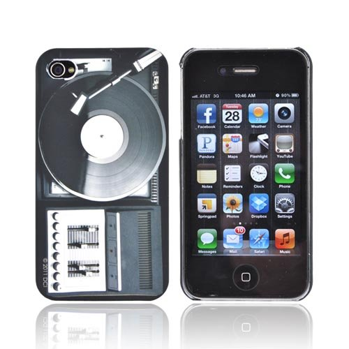 For Apple Iphone 4S 4 Black White Retro Turntable Oem Dci Flash Rubberized Hard Plastic Shell Case Cover
