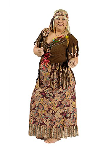 70s Hippie Dress Ladies Plus Size Costume brown. Sizes 44-50